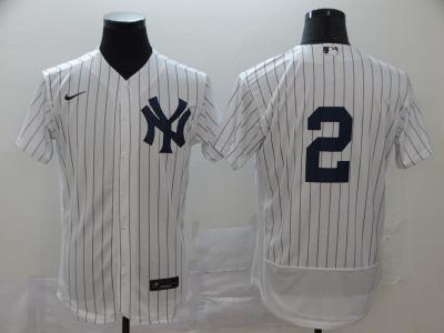 Men's New York Yankees #2 Derek Jeter White Navy Home 2020 Authentic Player Baseball Jersey