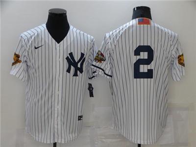 Men's New York Yankees #2 Derek Jeter White Strip World Series Cool Base Stitched Baseball Jersey