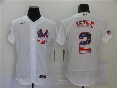 Men's New York Yankees #2 Derek Jeter White USA Flag Fashion Stitched Baseball Jersey