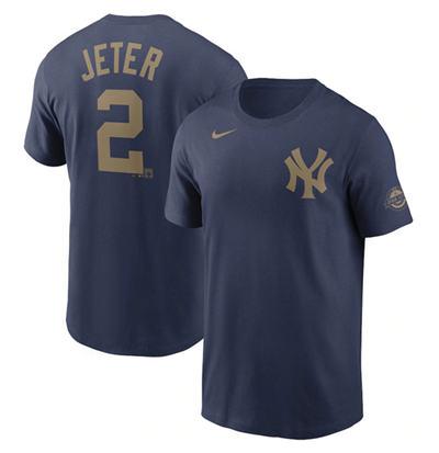 Men's New York Yankees #2 Derek Jeter navy Baseball T-shirt