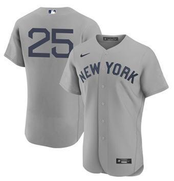 Men's New York Yankees #25 Gleyber Torres 2021 Gray Field Of Dreams Flex Base Stitched Baseball Jersey