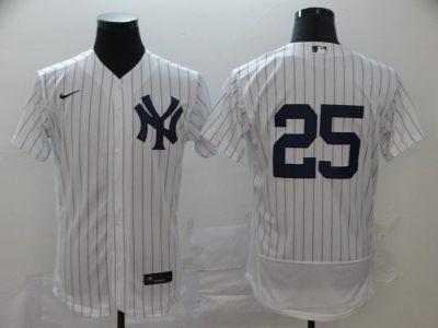 Men's New York Yankees #25 Gleyber Torres White Navy Home 2020 Authentic Player Baseball Jersey
