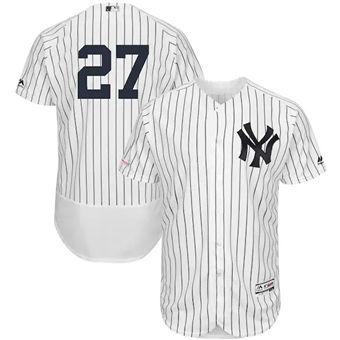 Men's New York Yankees #27 Giancarlo Stanton White Flex Base Stitched Baseball Jersey