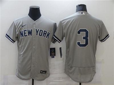 Men's New York Yankees #3 Babe Ruth Grey Flex Base Stitched Baseball Jersey