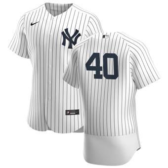 Men's New York Yankees #40 Luis Severino White Navy Home 2020 Authentic Player Baseball Jersey