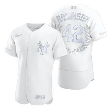 Men's New York Yankees #42 Jackie Robinson Platinum Baseball MVP Limited Player Edition Jersey