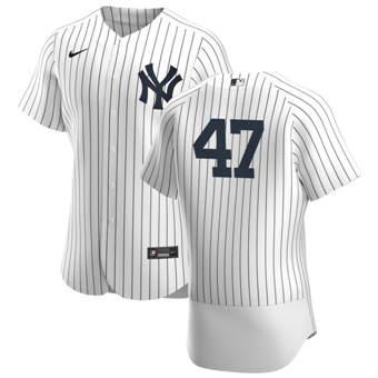 Men's New York Yankees #47 Jordan Montgomery White Navy Home 2020 Authentic Player Baseball Jersey