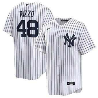 Men's New York Yankees #48 Anthony Rizzo White Cool Base Stitched Baseball Jersey