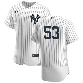 Men's New York Yankees #53 Zack Britton White Navy Home 2020 Authentic Player Baseball Jersey