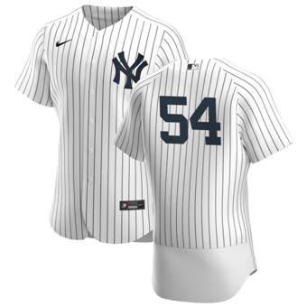 Men's New York Yankees #54 Aroldis Chapman White Navy Home 2020 Authentic Player Baseball Jersey