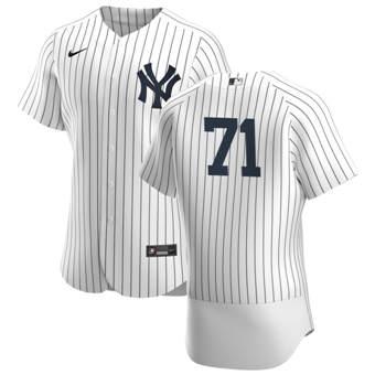 Men's New York Yankees #71 Thairo Estrada White Navy Home 2020 Authentic Player Baseball Jersey
