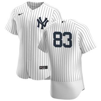 Men's New York Yankees #83 Deivi Garcia White Navy Home 2020 Authentic Player Baseball Jersey