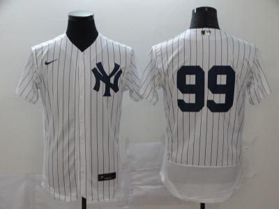 Men's New York Yankees #99 Aaron Judge White Navy Home 2020 Authentic Player Baseball Jersey