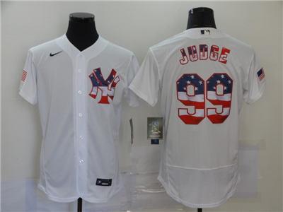 Men's New York Yankees #99 Aaron Judge White USA Flag Fashion Stitched Baseball Jersey