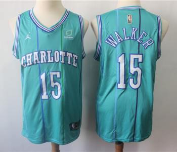 Men's  Charlotte Hornets #15 Kemba Walker Teal Throwback Jordan Brand Swingman Jersey