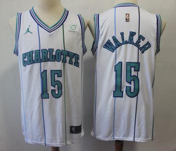 Men's  Charlotte Hornets #15 Kemba Walker White Basketball Jordan Swingman Hardwood Classics Jersey