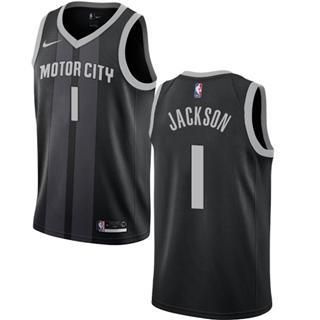 Men's  Detroit Pistons #1 Reggie Jackson Black 2018-19 City Edition Basketball Swingman Jersey