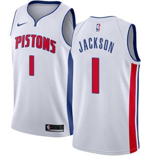 Men's  Detroit Pistons #1 Reggie Jackson White Basketball Swingman Association Edition Jersey