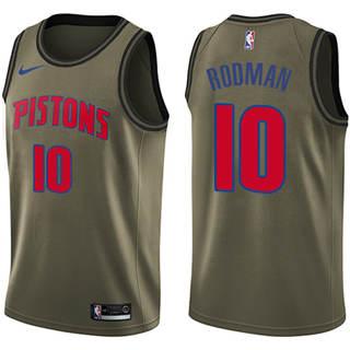 Men's  Detroit Pistons #10 Dennis Rodman Green Salute to Service Basketball Swingman Jersey