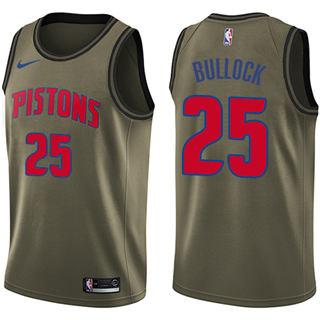Men's  Detroit Pistons #25 Reggie Bullock Green Basketball Swingman Salute to Service Jersey