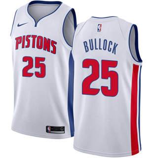 Men's  Detroit Pistons #25 Reggie Bullock White Basketball Swingman Association Edition Jersey