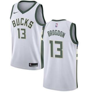 Men's  Milwaukee Bucks #13 Malcolm Brogdon White Basketball Swingman Association Edition Jersey