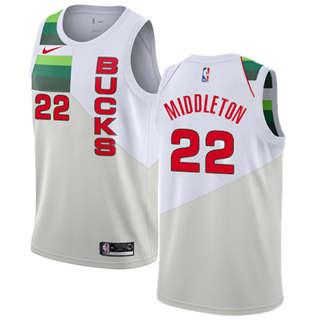 Men's  Milwaukee Bucks #22 Khris Middleton White Basketball Swingman Earned Edition Jersey