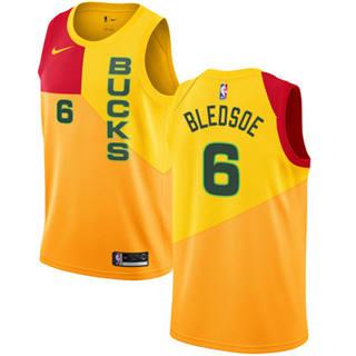 Men's  Milwaukee Bucks #6 Eric Bledsoe Yellow 2018-19 City Edition Basketball Swingman Jersey