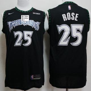 Men's  Minnesota Timberwolves #25 Derrick Rose Black Basketball Swingman Hardwood Classics Jersey