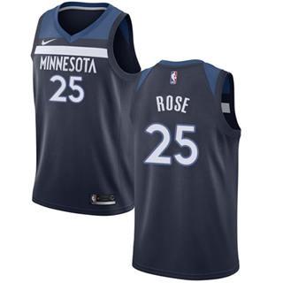 Men's  Minnesota Timberwolves #25 Derrick Rose Navy Blue Basketball  Icon Edition Jersey