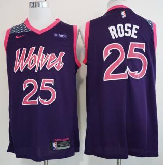 Men's  Minnesota Timberwolves #25 Derrick Rose Purple 2018-19 New City Edition Swingman Jersey
