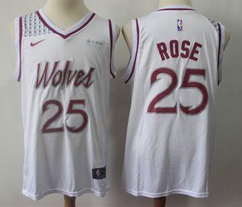Men's  Minnesota Timberwolves #25 Derrick Rose White 2018-19 Earned Edition Basketball Swingman Jersey