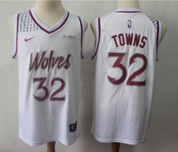 Men's  Minnesota Timberwolves #32 Karl-Anthony Towns White 2018-19 Earned Edition Basketball Swingman Jersey