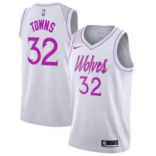 Men's  Minnesota Timberwolves #32 Karl-Anthony Towns White Basketball Swingman Earned Edition Jersey