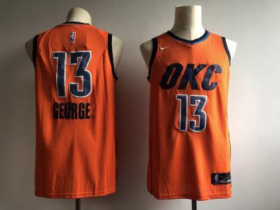 Men's  Oklahoma City Thunder #13 Paul George Orange Basketball Swingman 2018-19 Earned Edition Jersey