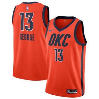 Men's  Oklahoma City Thunder #13 Paul George Orange Basketball Swingman Earned Edition Jersey