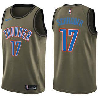 Men's  Oklahoma City Thunder #17 Dennis Schroder Green Basketball Swingman Salute to Service Jersey