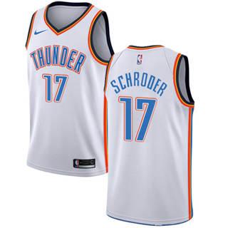 Men's  Oklahoma City Thunder #17 Dennis Schroder White Basketball Swingman Association Edition Jersey