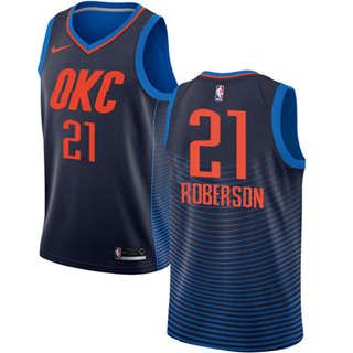 Men's  Oklahoma City Thunder #21 Andre Roberson Navy Blue Basketball Swingman Statement Edition Jersey