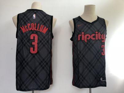 Men's  Portland Trail Blazers #3 C.J. McCollum Black Basketball Swingman City Edition Jersey