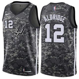 Men's  San Antonio Spurs #12 LaMarcus Aldridge Black 2018-19 City Edition Basketball Swingman Jersey