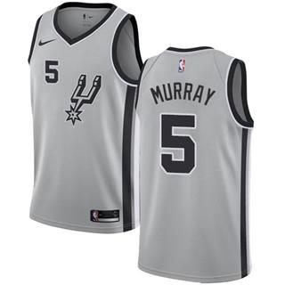 Men's  San Antonio Spurs #5 Dejounte Murray Silver Basketball Swingman Statement Edition Jersey