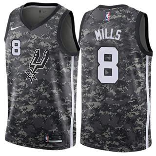 Men's  San Antonio Spurs #8 Patty Mills Black 2018-19 City Edition Basketball Swingman Jersey
