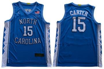 Men's North Carolina #15 Vince Carter Blue Stitched College Basketball Jersey