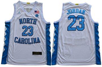 Men's North Carolina #23 Michael Jordan White Stitched College Basketball Jersey