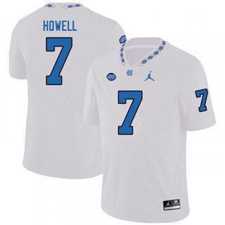 Men's North Carolina Tar Heels #7 Sam Howell White NCAA 2019-2020 Jersey