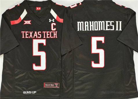 Men's North Carolina Tar Heels Black #5 MAHOMES II Stitched College Football Jersey