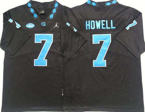 Men's North Carolina Tar Heels Black #7 Sam Howell Stitched College Football Jersey