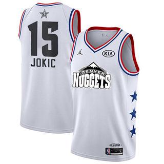 Men's Nuggets #15 Nikola Jokic White Basketball Jordan Swingman 2019 All-Star Game Jersey