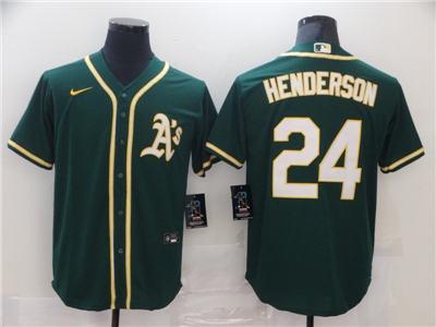 Men's Oakland Athletics #24 Rickey Henderson Green Cool Base Stitched Baseball Jersey